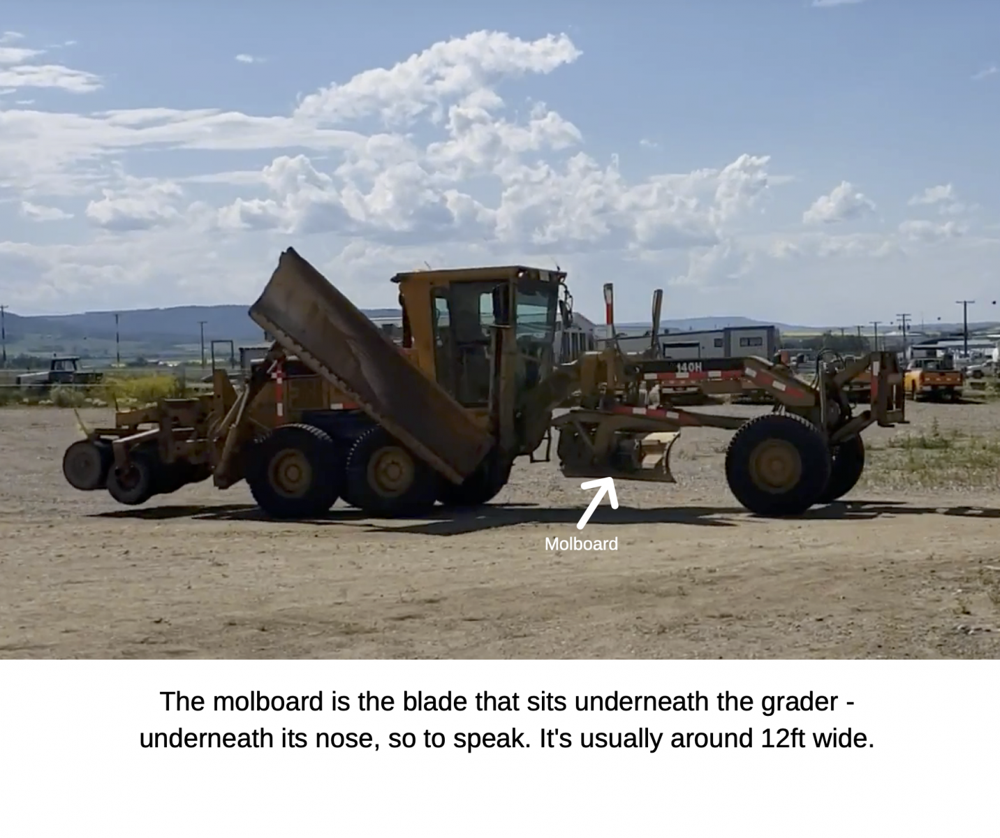 The molboard is the blade that sits underneath the grader - underneath its nose, so to speak. It's usually around 12ft wide.